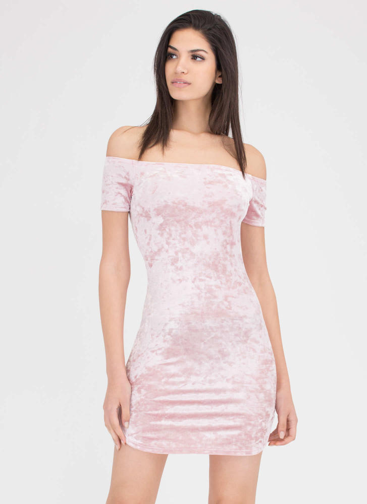 Crush Them Velvet Off-Shoulder Dress PINK