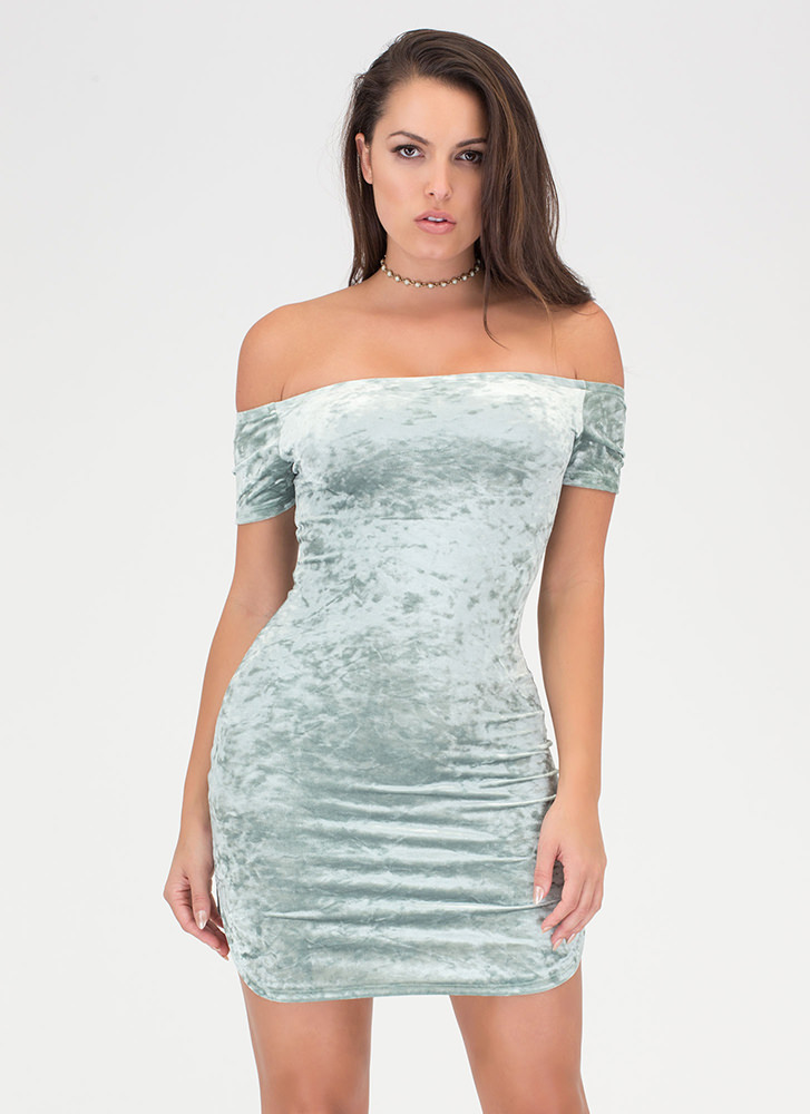 Crush Them Velvet Off-Shoulder Dress SAGE