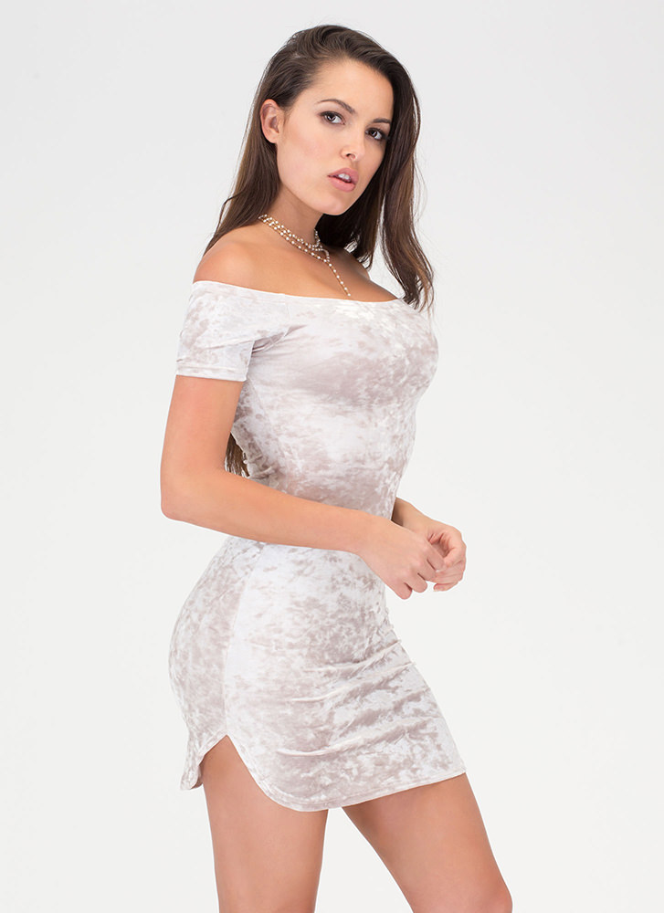 Crush Them Velvet Off-Shoulder Dress SAND