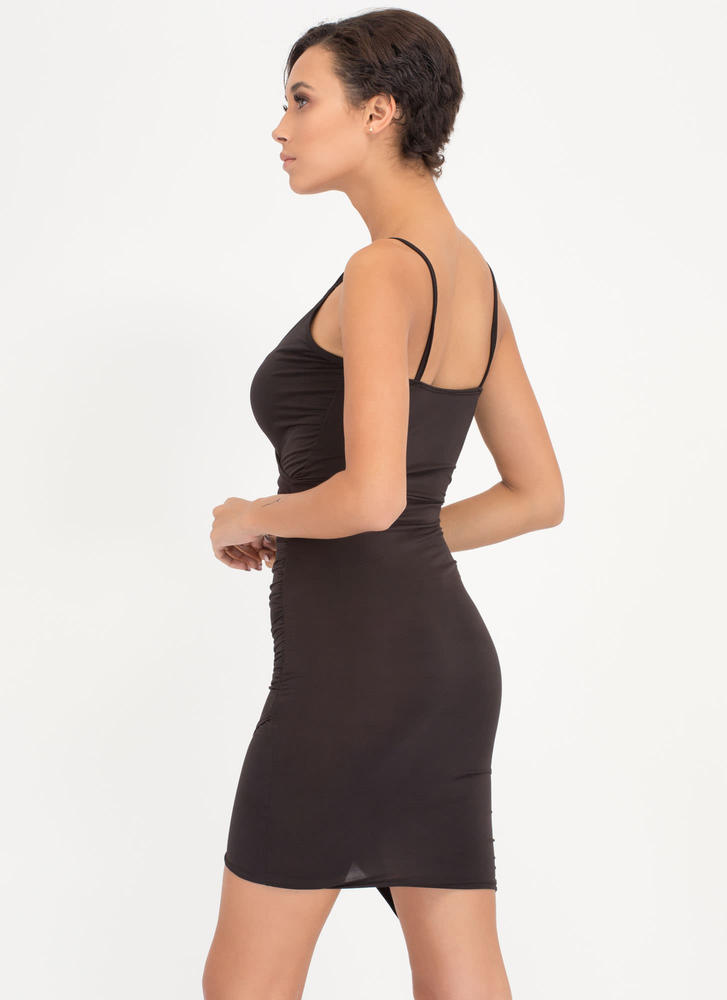 Call It A Night Ruched Wrap Dress BLACK