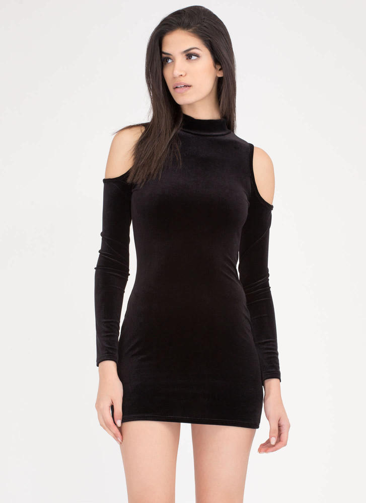 90s Bae Cold Shoulder Velvet Dress