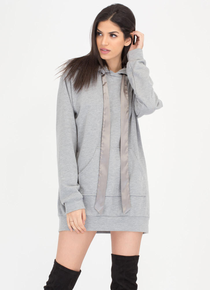 Laid-Back Luxury Sweatshirt Hoodie Dress HGREY (Final Sale)