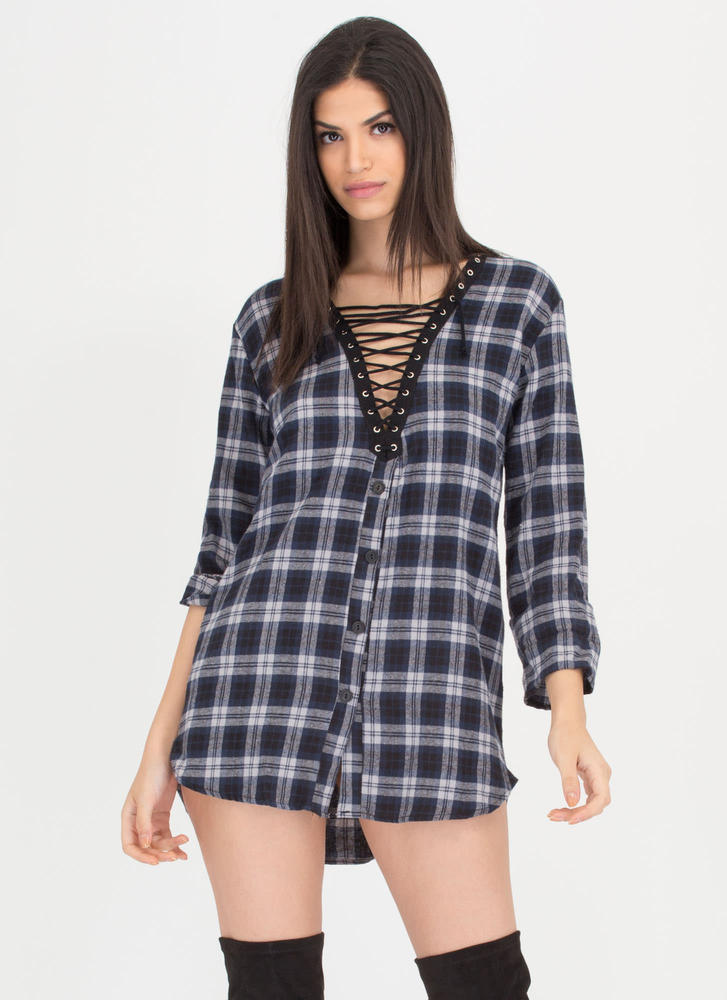 Plaid Reputation Lace-Up Flannel Dress NAVY