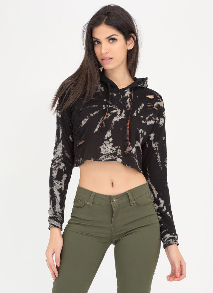 Bleach Splash Zone Distressed Crop Top BLACK (Final Sale)