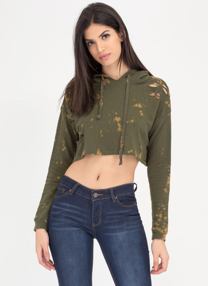 Bleach Splash Zone Distressed Crop Top