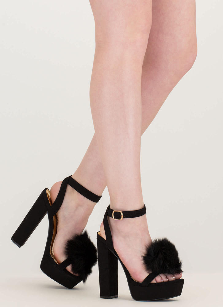 Fur Sure Strappy Pom-Pom Platforms BLACK
