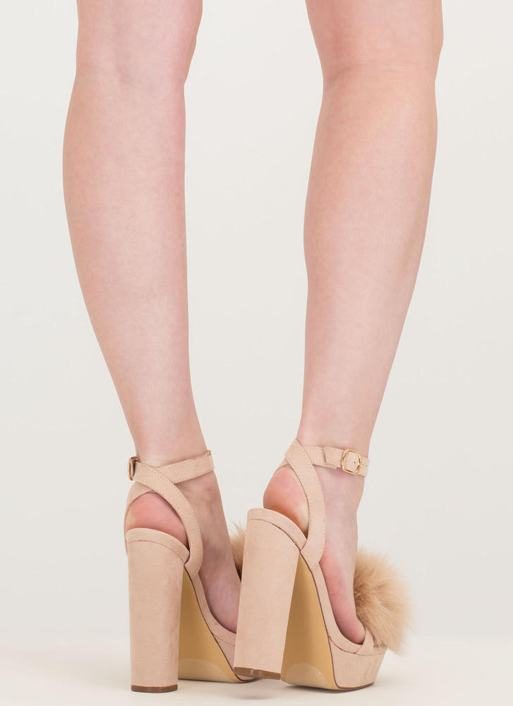 Fur Sure Strappy Pom-Pom Platforms NUDE