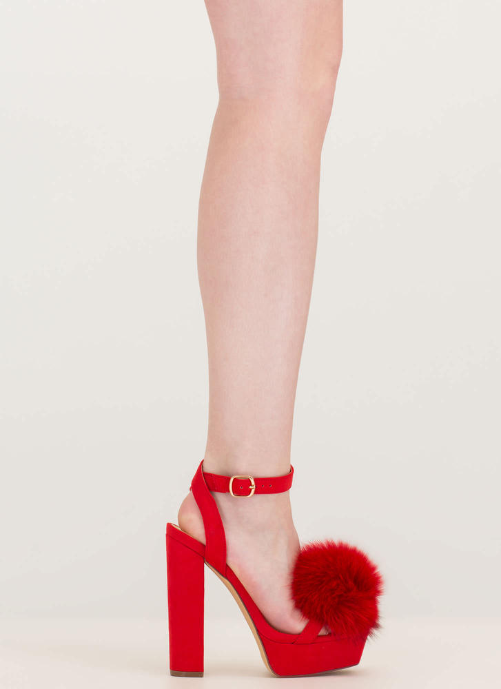 Fur Sure Strappy Pom-Pom Platforms RED