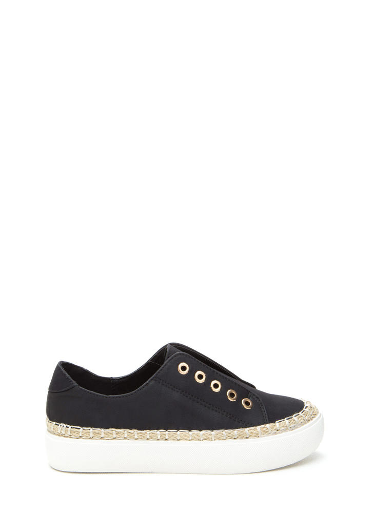 Roped In Faux Leather Slip-On Sneakers