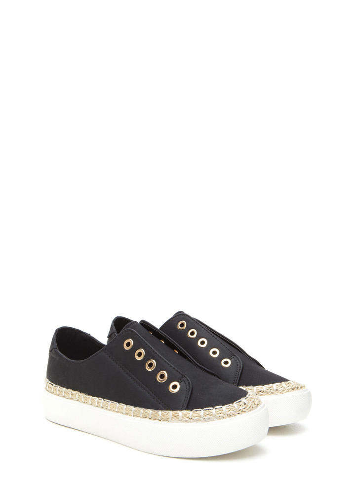 Roped In Faux Leather Slip-On Sneakers BLACK