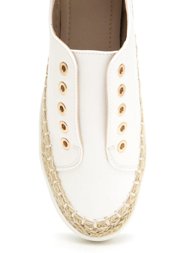 Roped In Faux Leather Slip-On Sneakers WHITE