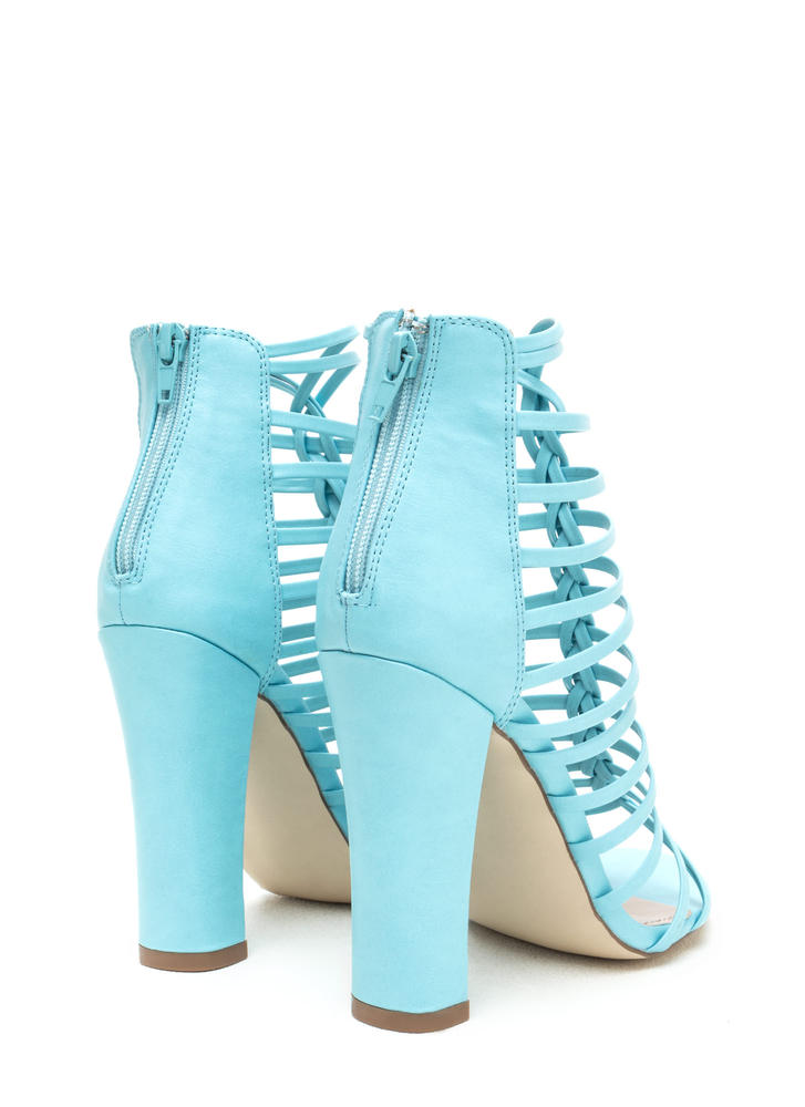 Bold Pose Chunky Braided Caged Heels BLUE