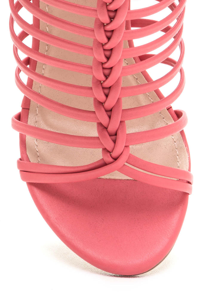 Bold Pose Chunky Braided Caged Heels CORAL