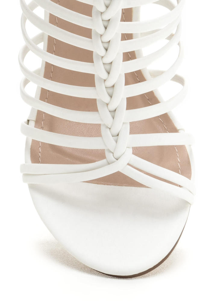 Bold Pose Chunky Braided Caged Heels WHITE