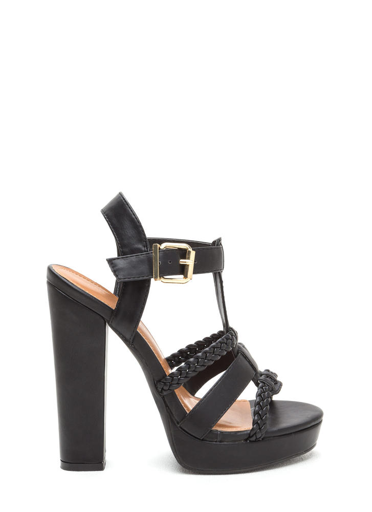 Slay All Day Chunky Caged Platform Heels BLACK
