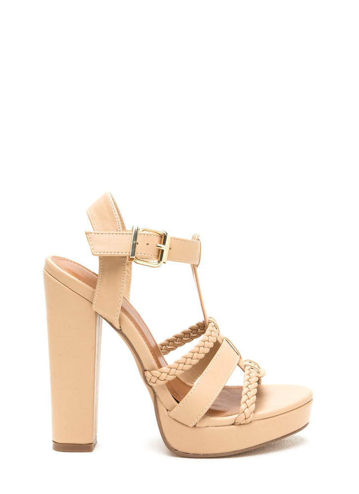 Slay All Day Chunky Caged Platform Heels CAMEL