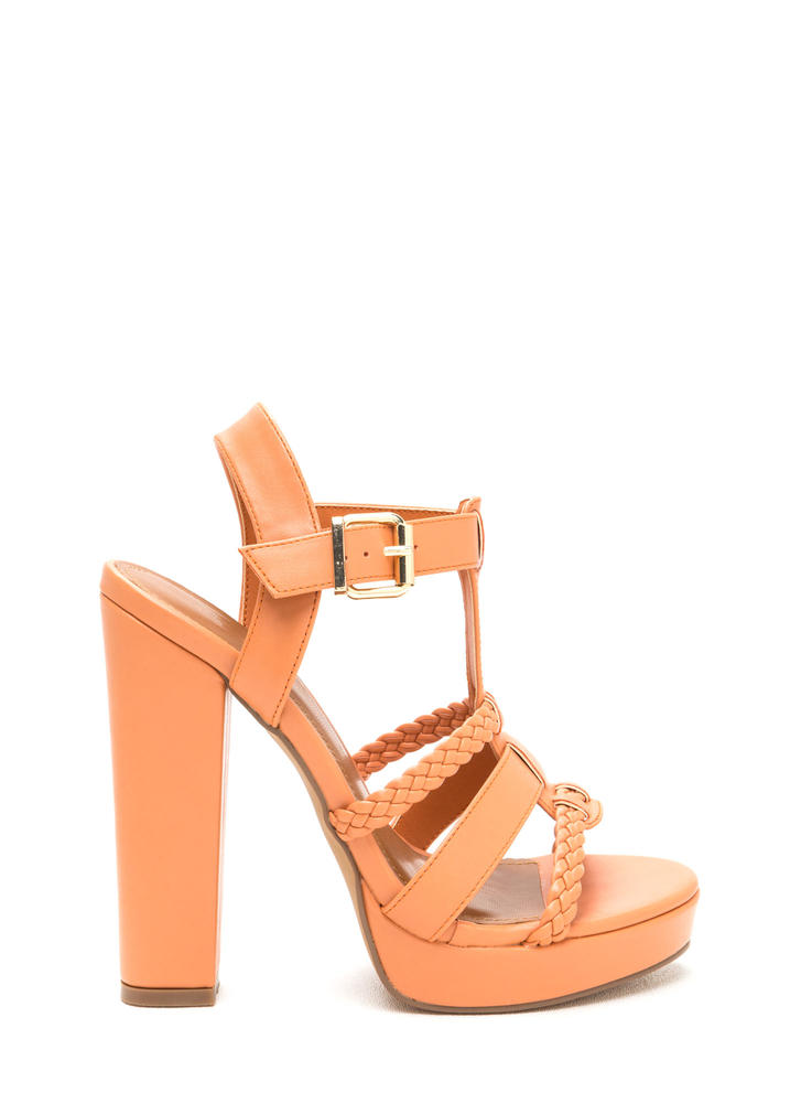Slay All Day Chunky Caged Platform Heels PEACH