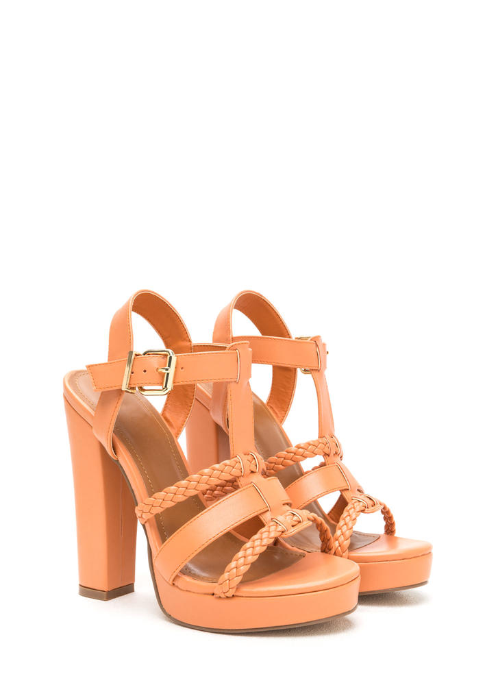 Slay All Day Chunky Caged Platform Heels PEACH (Final Sale)