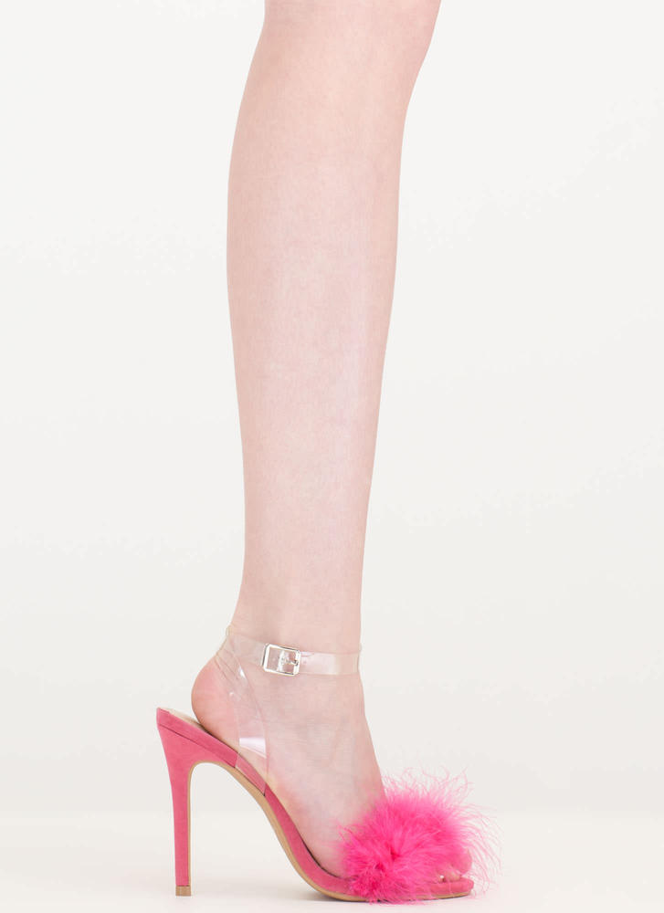 Feather Weather Strappy Stiletto Heels CORAL