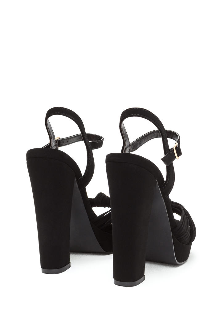 Knot Yourself Chunky Platform Heels BLACK