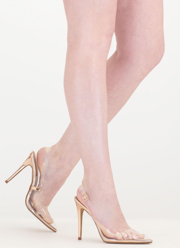 Clear To The Point Shiny Slingback Heels ROSEGOLD