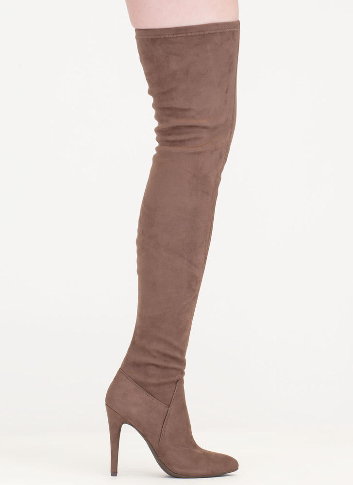Made My Point Thigh-High Stiletto Boots DEEPTAUPE