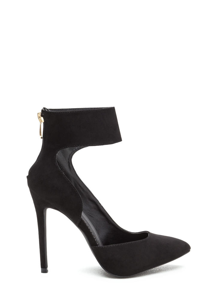 So One-Sided Pointy Ankle Cuff Heels