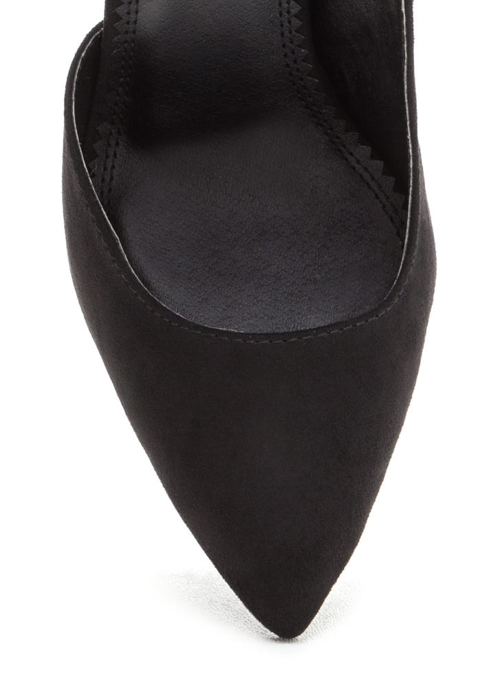 So One-Sided Pointy Ankle Cuff Heels BLACK