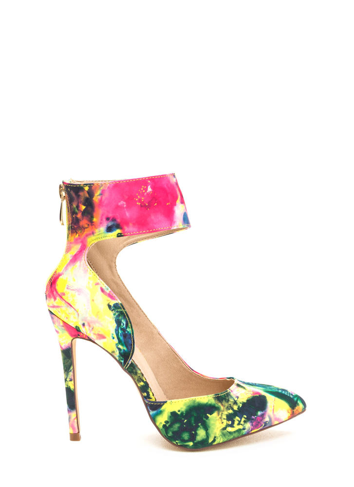 So One-Sided Floral Ankle Cuff Heels