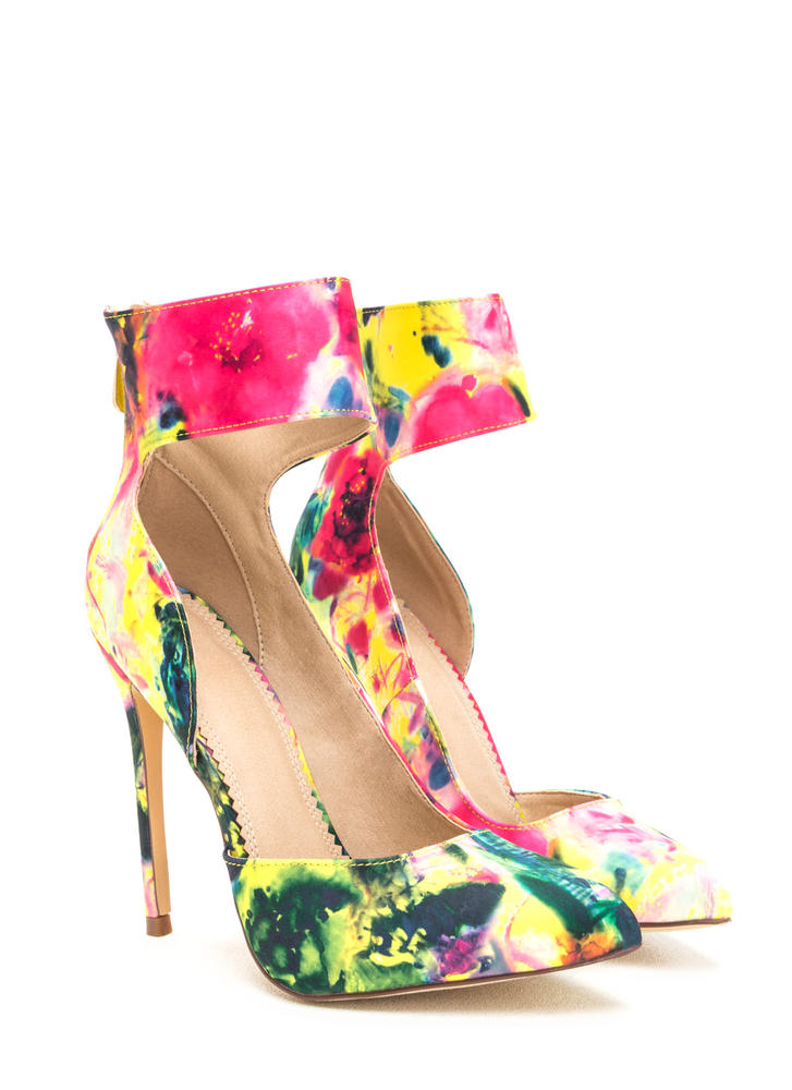 So One-Sided Floral Ankle Cuff Heels MULTI