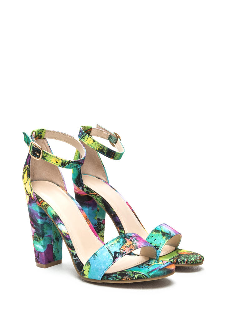 Scenic Route Strappy Chunky Heels SEAFOAMMLT