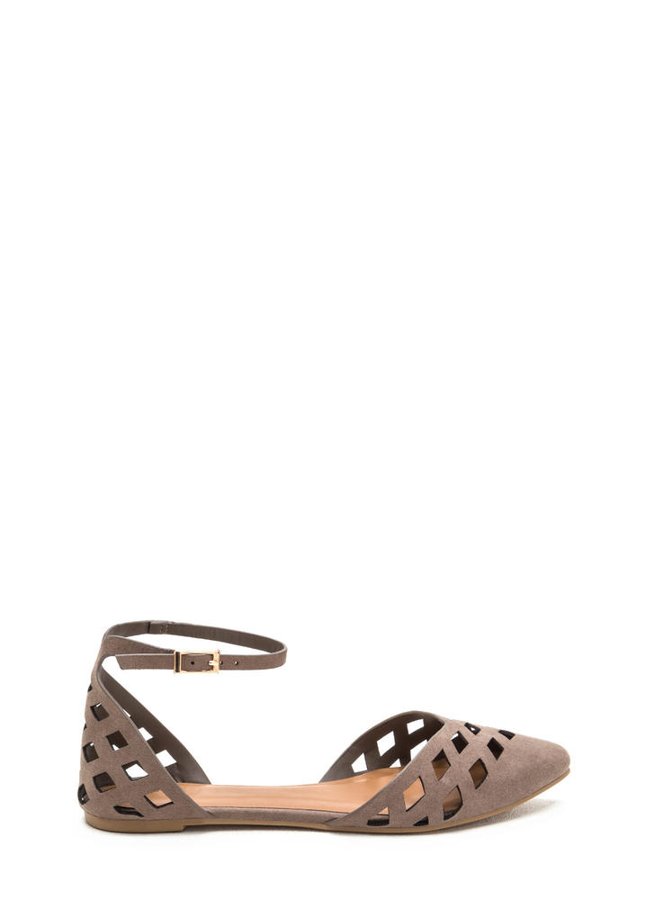 Laser Focus Cut-Out Pointy Flats TAUPE