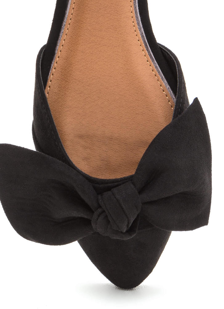 Knot Bow Fast Pointy Faux Suede Flats BLACK