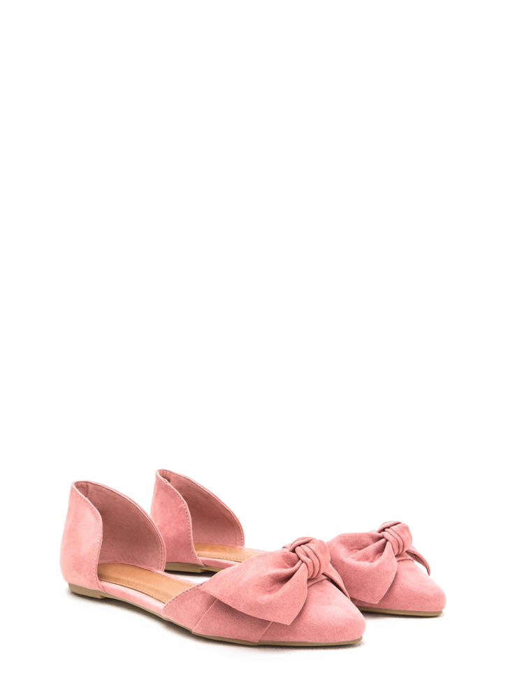 Knot Bow Fast Pointy Faux Suede Flats MAUVE