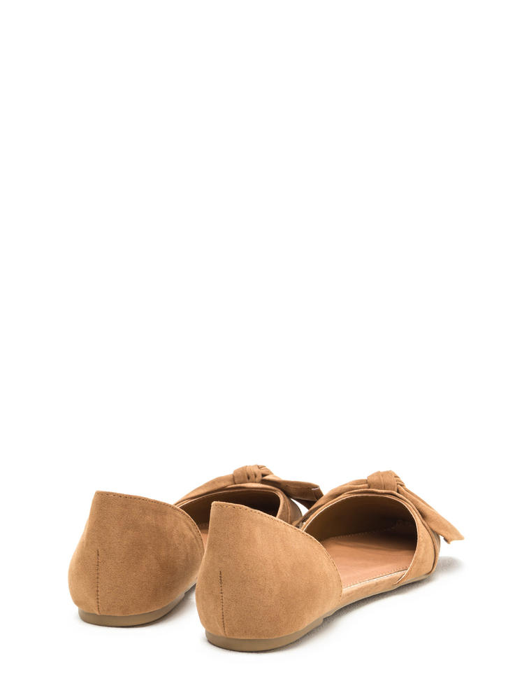 Knot Bow Fast Pointy Faux Suede Flats TAN