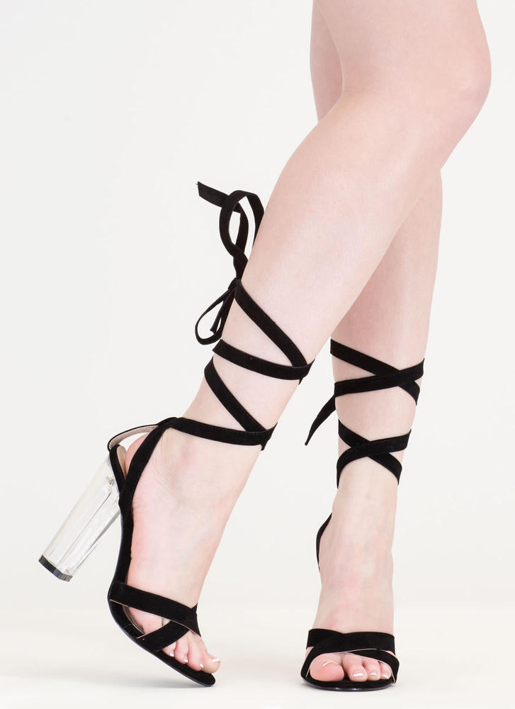 Center Stage Clear Chunky Lace-Up Heels BLACK