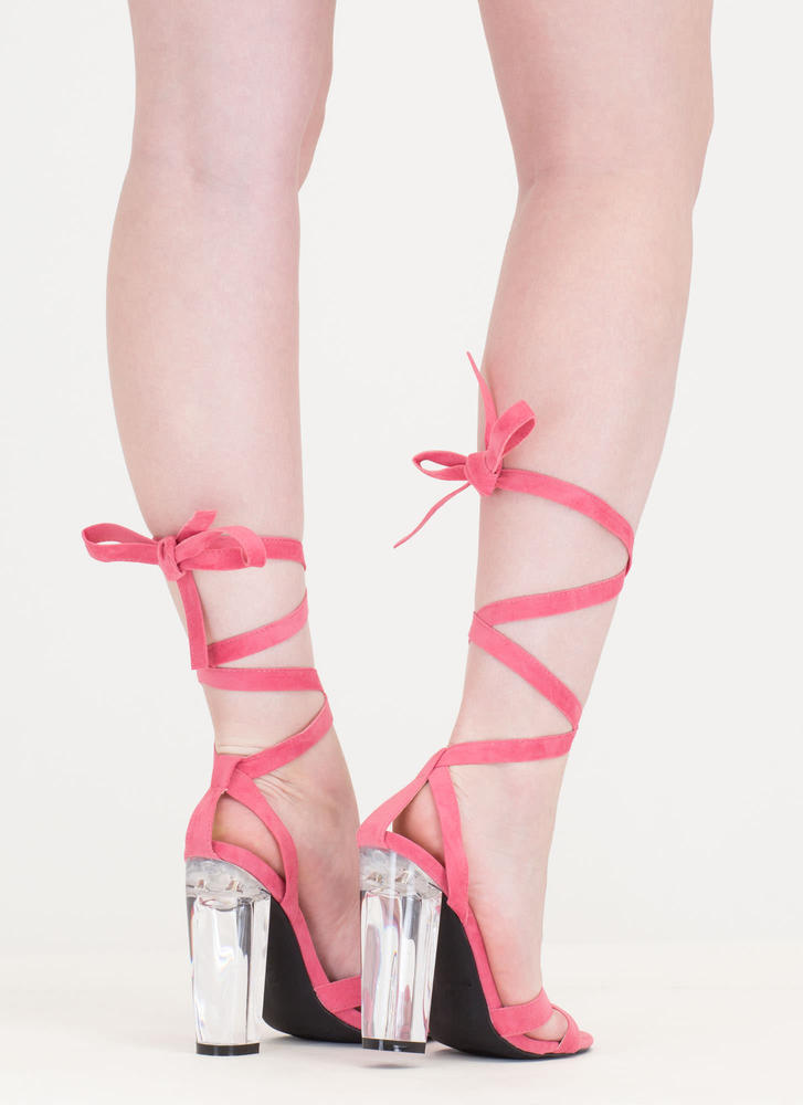 Center Stage Clear Chunky Lace-Up Heels CORAL