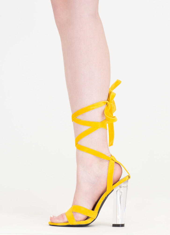 Center Stage Clear Chunky Lace-Up Heels YELLOW