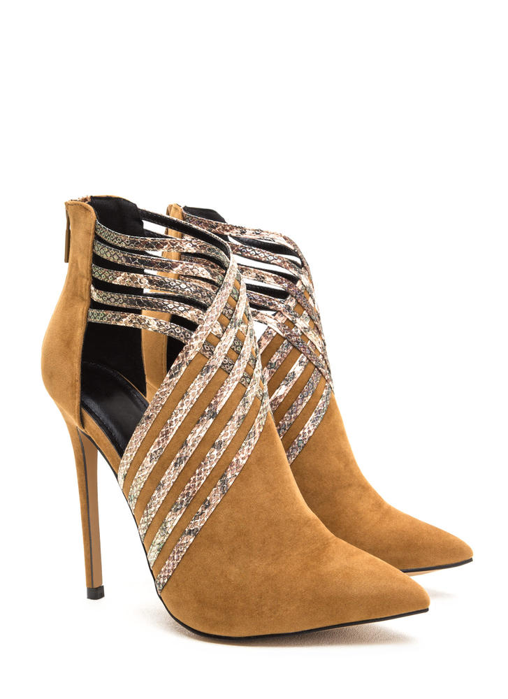 Strappy Hour Scaled Caged Heels CHESTNUT