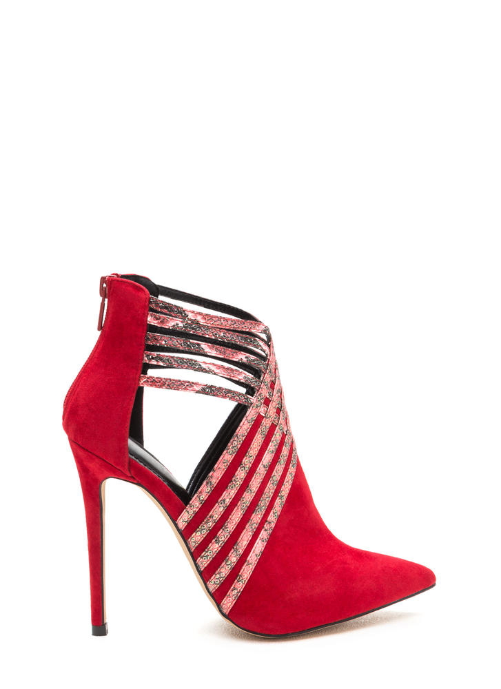 Strappy Hour Scaled Caged Heels