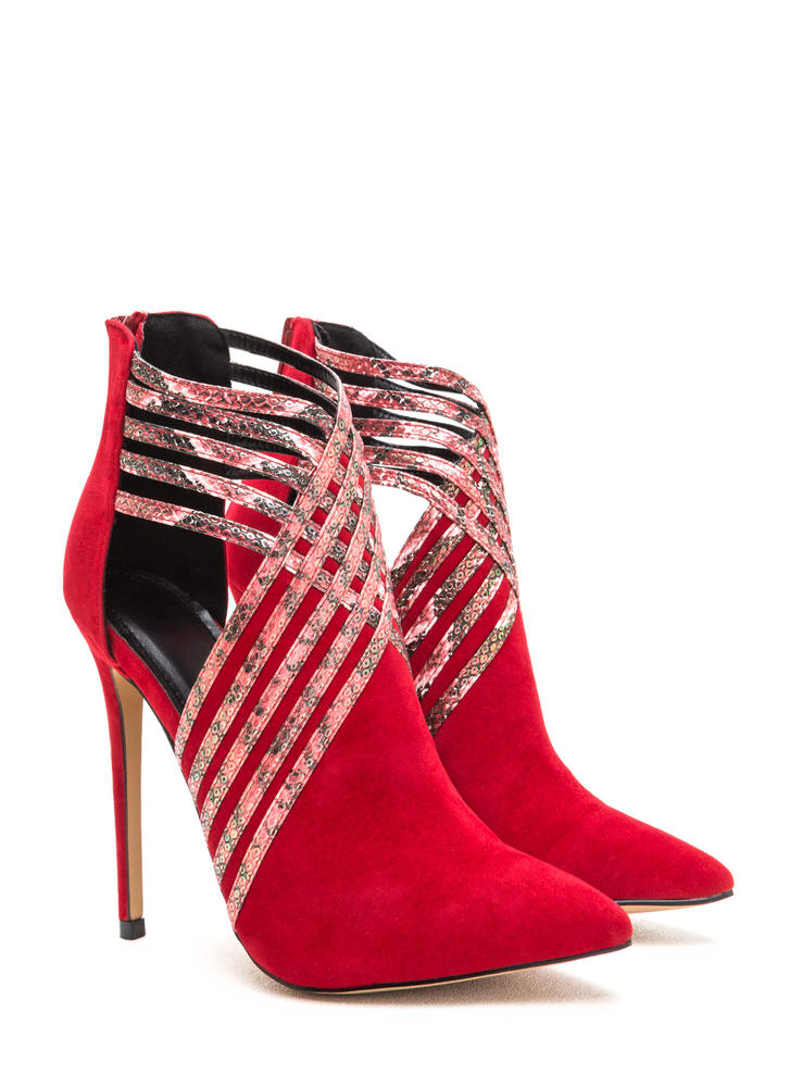 Strappy Hour Scaled Caged Heels RED