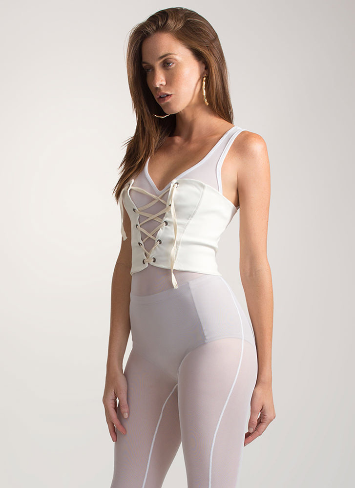 It's A Cinch Stretchy Lace-Up Corset IVORY