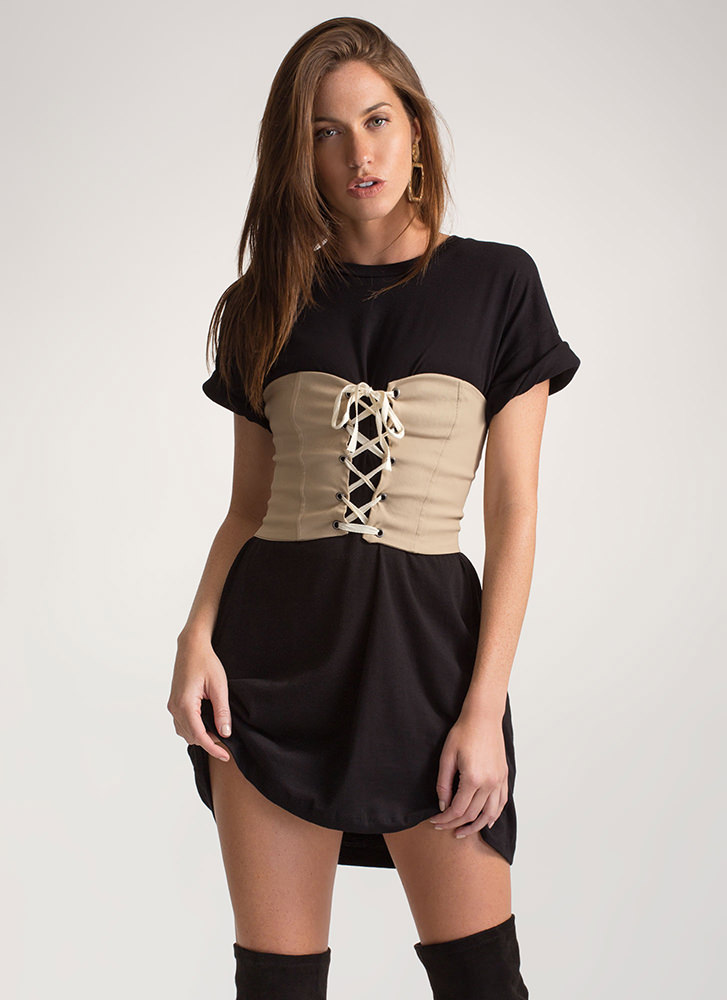 It's A Cinch Stretchy Lace-Up Corset TAUPE