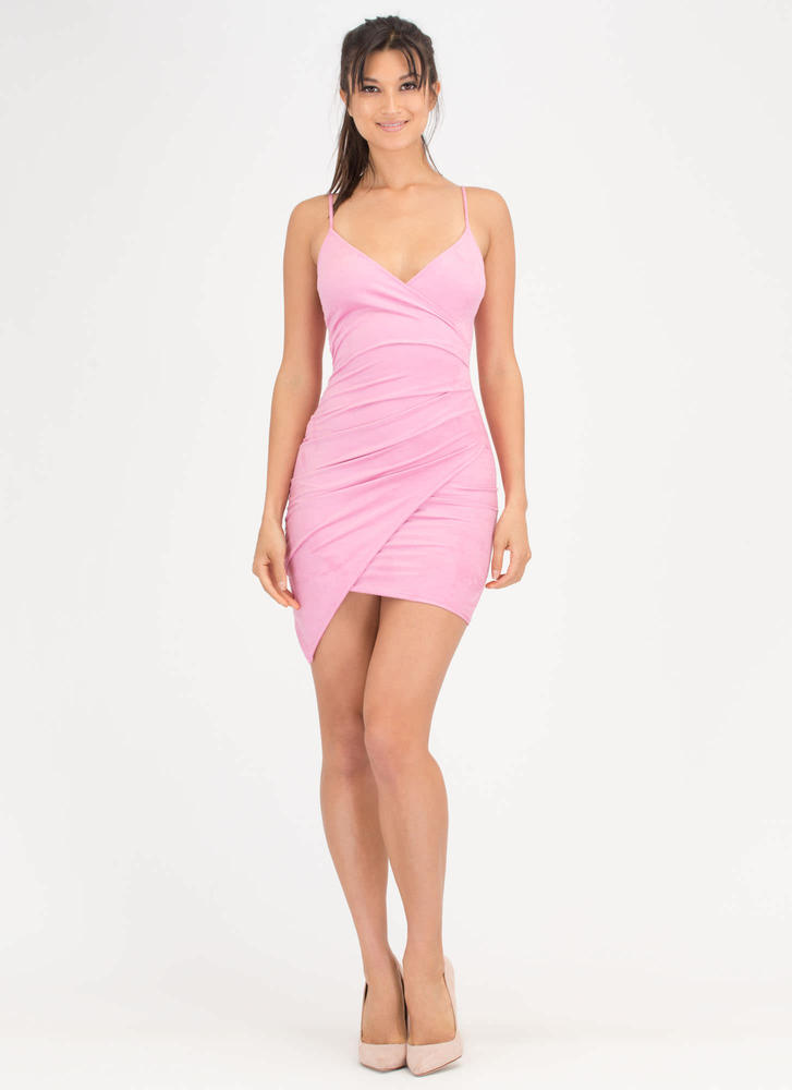 Side To Side Faux Suede Wrap Minidress PINK (Final Sale)