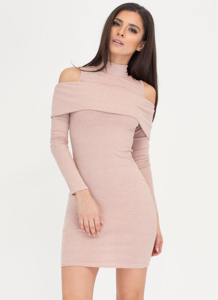 Day Trip Ruffled Cold Shoulder Dress NUDE