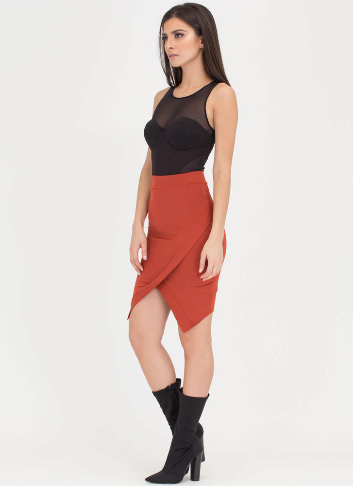 All Wrapped Up High-Low Skirt RUST