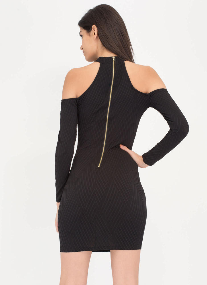 Cut The Lines Cold-Shoulder Dress BLACK