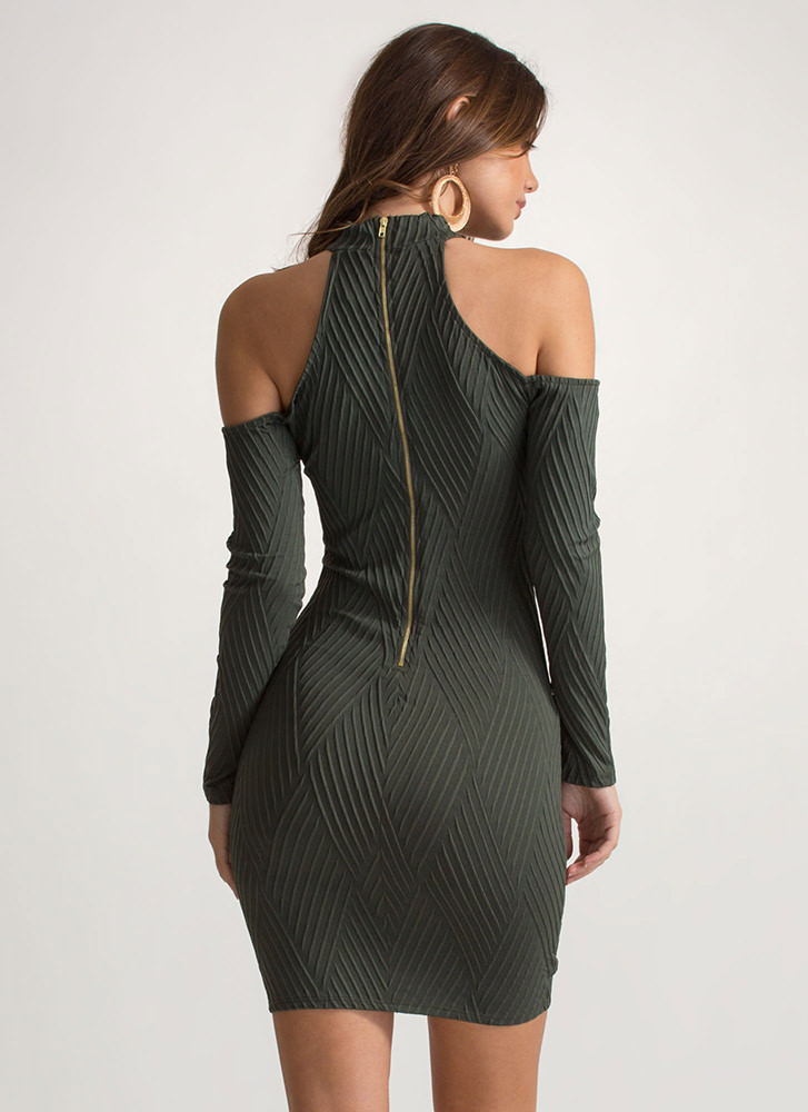 Cut The Lines Cold-Shoulder Dress OLIVE
