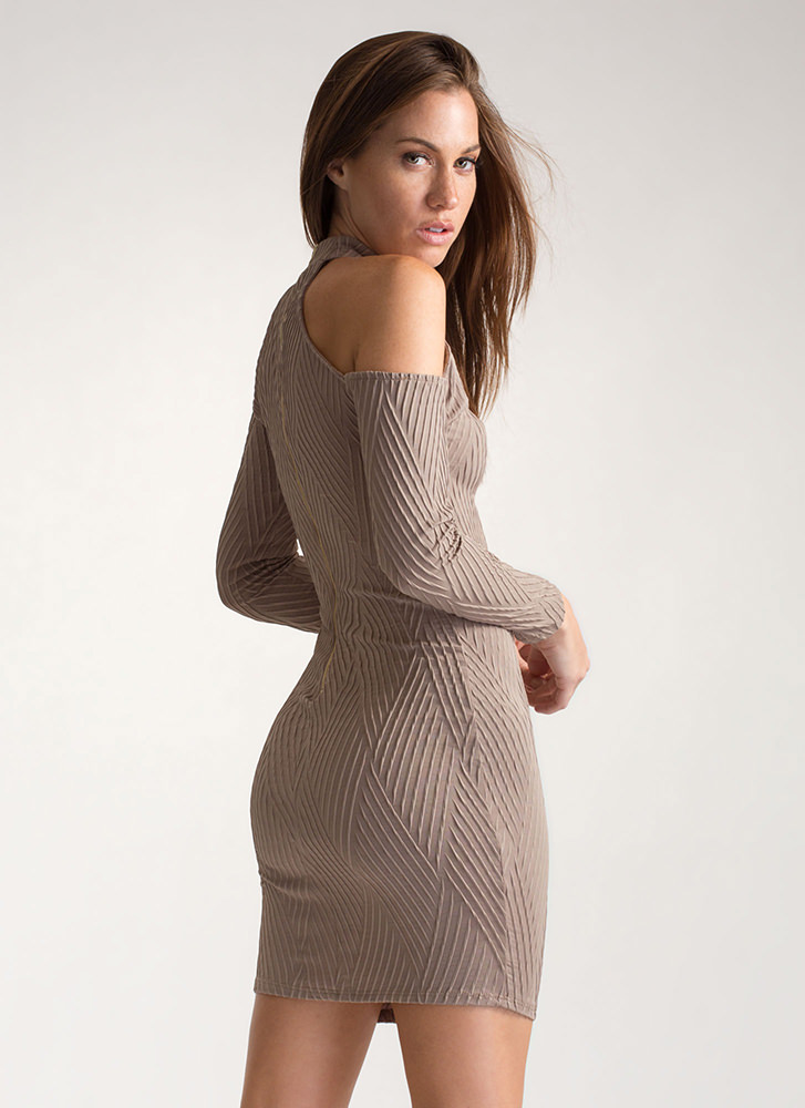Cut The Lines Cold-Shoulder Dress TAUPE