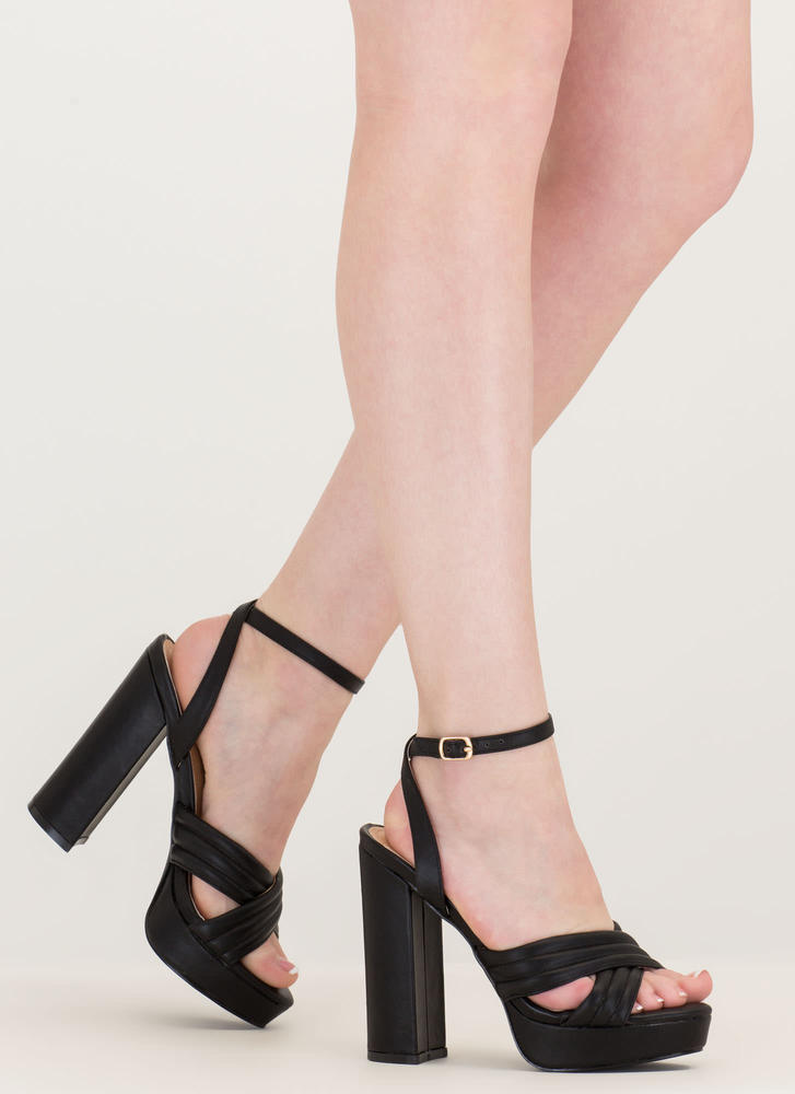 Learn My Lines Faux Leather Chunky Heels